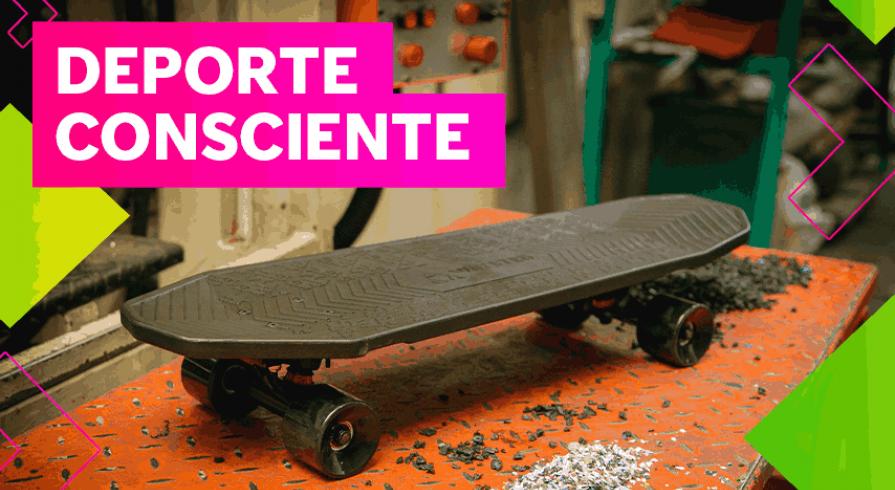 ¿Alguna vez te imaginaste montar un skate hecho con materiales reciclados?
